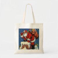 Vintage Santa Claus Delivering Toys, Christmas Eve bag