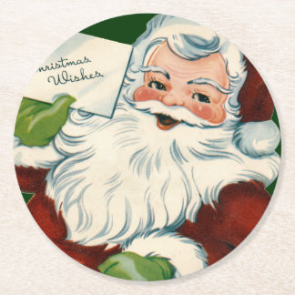 Vintage Santa Claus Delivers Christmas Wishes Round Paper Coaster