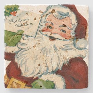 Vintage Santa Claus Delivers Christmas Wishes Stone Beverage Coaster