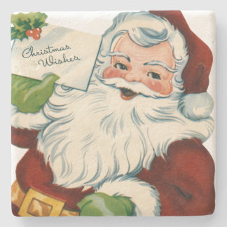 Vintage Santa Claus Delivers Christmas Wishes Stone Coaster