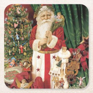 Vintage Santa Claus Delivers on Christmas Square Paper Coaster