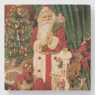 Vintage Santa Claus Delivers on Christmas Stone Coaster