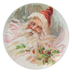Vintage Santa Claus Dinner Plates