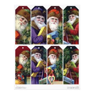Vintage Santa Claus DIY Christmas Gift Tags Custom Letterhead