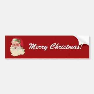 Vintage Santa Claus Face - Merry Christmas! Car Bumper Sticker