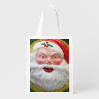 Vintage Santa Claus face Reusable Grocery Bag