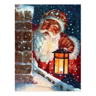 Vintage Santa Claus Father Christmas on Roof Post Card