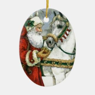 Vintage Santa Claus Feeding His White Horse Ceramic Ornament