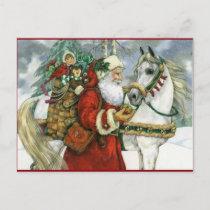 Vintage Santa Claus Feeding His White Horse Holiday Postcard