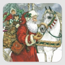 Vintage Santa Claus Feeding His White Horse Square Sticker