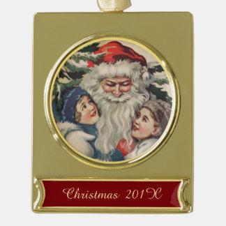Vintage Santa Claus Fine Art Gold Plated Banner Ornament