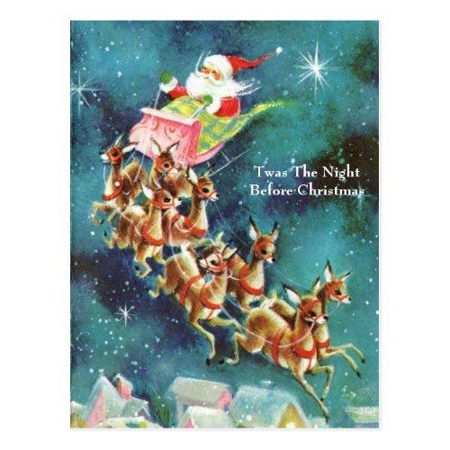 Vintage Santa Claus Flying Reindeer Over Houses Postcard