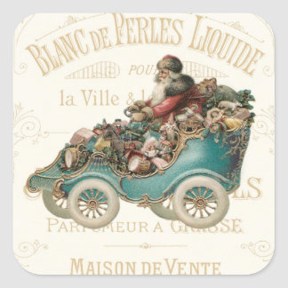Vintage Santa Claus French Christmas Toys Blue Car Square Sticker