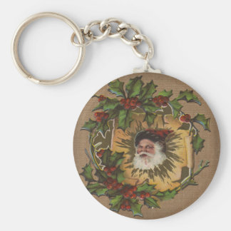 Vintage Santa Claus Illustration art Antique Keychain