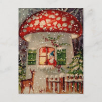Vintage Santa Claus In A Mushroom House Holiday Postcard