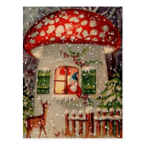 Vintage Santa Claus In A Mushroom House Postcard