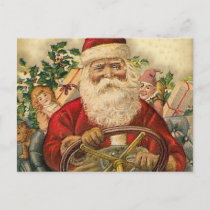 Vintage Santa Claus In Car: Postcards