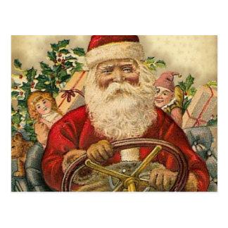Vintage Santa Claus In Car: Postcards