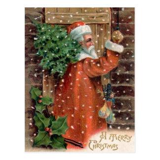 Vintage Santa Claus in Orange Robe - Christmas Postcard