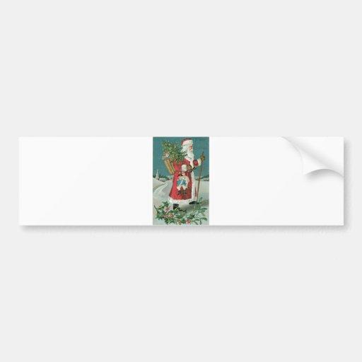 Vintage Santa Claus in the Snow Car Bumper Sticker