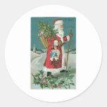 Vintage Santa Claus in the Snow Round Sticker