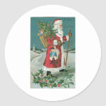 Vintage Santa Claus in the Snow Classic Round Sticker