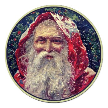 Vintage Santa Claus Invitation by HolidayBug at Zazzle