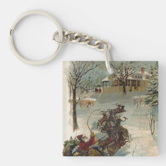 Vintage Santa Claus is Coming to Town Double-Sided Square Acrylic Keychain