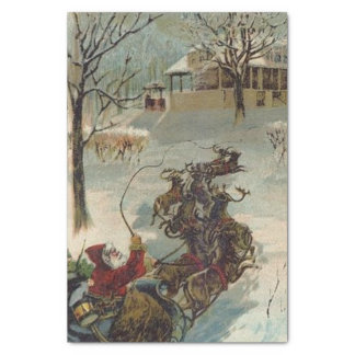 Vintage Santa Claus is Coming to Town Tissue Paper