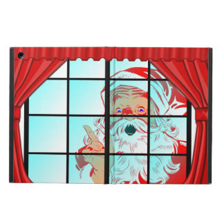 Vintage Santa Claus Looking Through Frosted Window Case For iPad Air