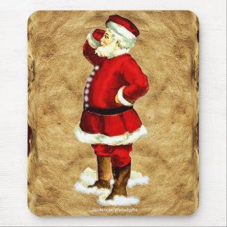 Vintage Santa Claus & Old Paper Xmas Mousepad 2