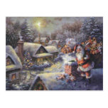 Vintage Santa Claus On The Roof Post Cards