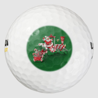 Vintage Santa Claus Peppermint Candy Train Golf Balls