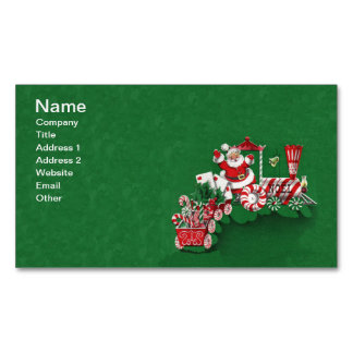 Vintage Santa Claus Peppermint Candy Train Magnetic Business Card