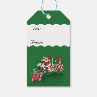 Vintage Santa Claus Peppermint Candy Train Pack Of Gift Tags