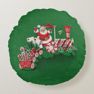 Vintage Santa Claus Peppermint Candy Train Round Pillow