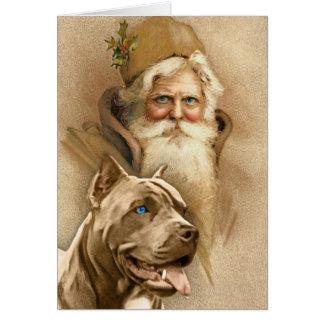 Vintage Santa Claus & Pet Pit Bull Dog Greeting Card