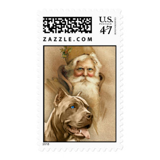 Vintage Santa Claus & Pet Pit Bull Dog Postage
