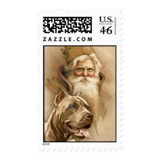 Vintage Santa Claus Pet Pit Bull Dog Stamps