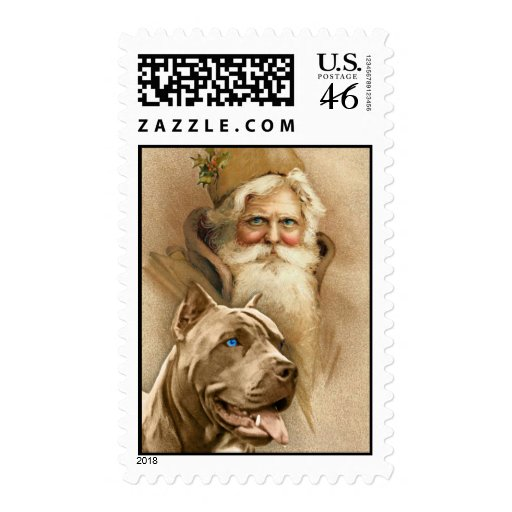 Vintage Santa Claus & Pet Pit Bull Dog Stamps