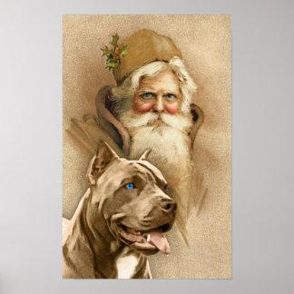 Vintage Santa Claus & Pet Pit Bull Dog Print