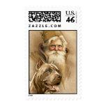 Vintage Santa Claus & Pet Pit Bull Dog Stamps