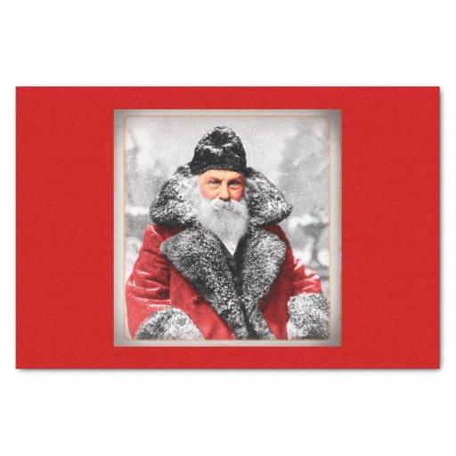 Vintage Santa Claus Photo Tissue Paper | Zazzle