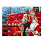 Vintage Santa Claus & Pin-Ups Christmas Postcard