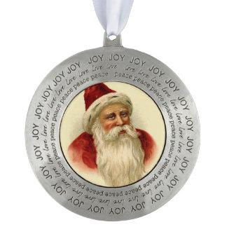 Vintage Santa Claus Portrait Pewter Decoration Pewter Ornament