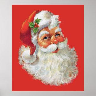 vintage santa claus portrait poster