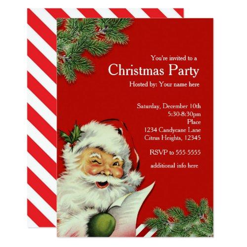 Vintage Santa Claus Red Christmas Invitations