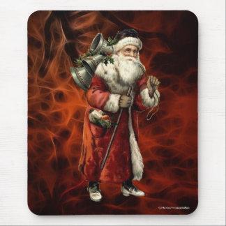 Vintage Santa Claus & Red Fractal Xmas Mousemat Mouse Pad