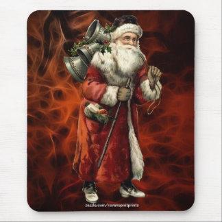 Vintage Santa Claus & Red Fractal Xmas Mousepad