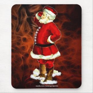Vintage Santa Claus & Red Fractal Xmas Mousepad 2